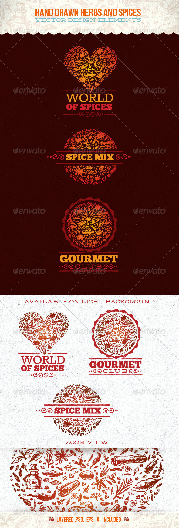 GraphicRiver Spices and Herbs Vector Design Elements 4900005