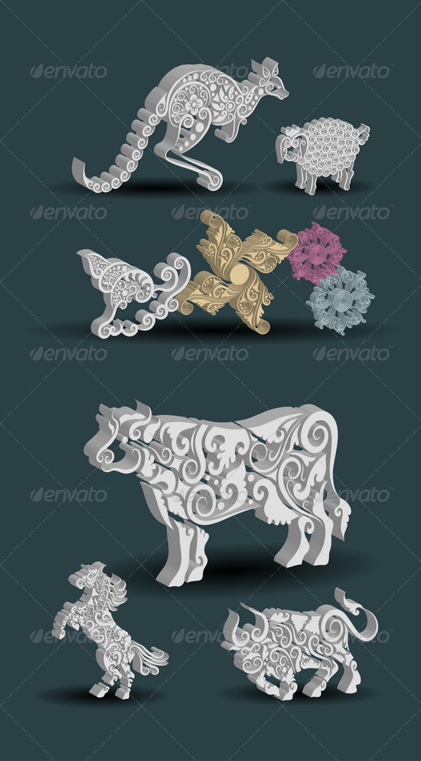 GraphicRiver Engraving Animal Ornaments 4900080