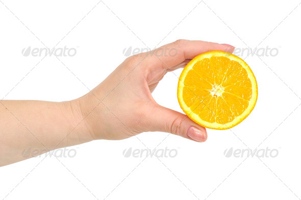 orange in hand - Stock Photo - Images