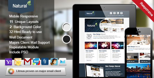 ThemeForest Natural Responsive Email Template 4863975