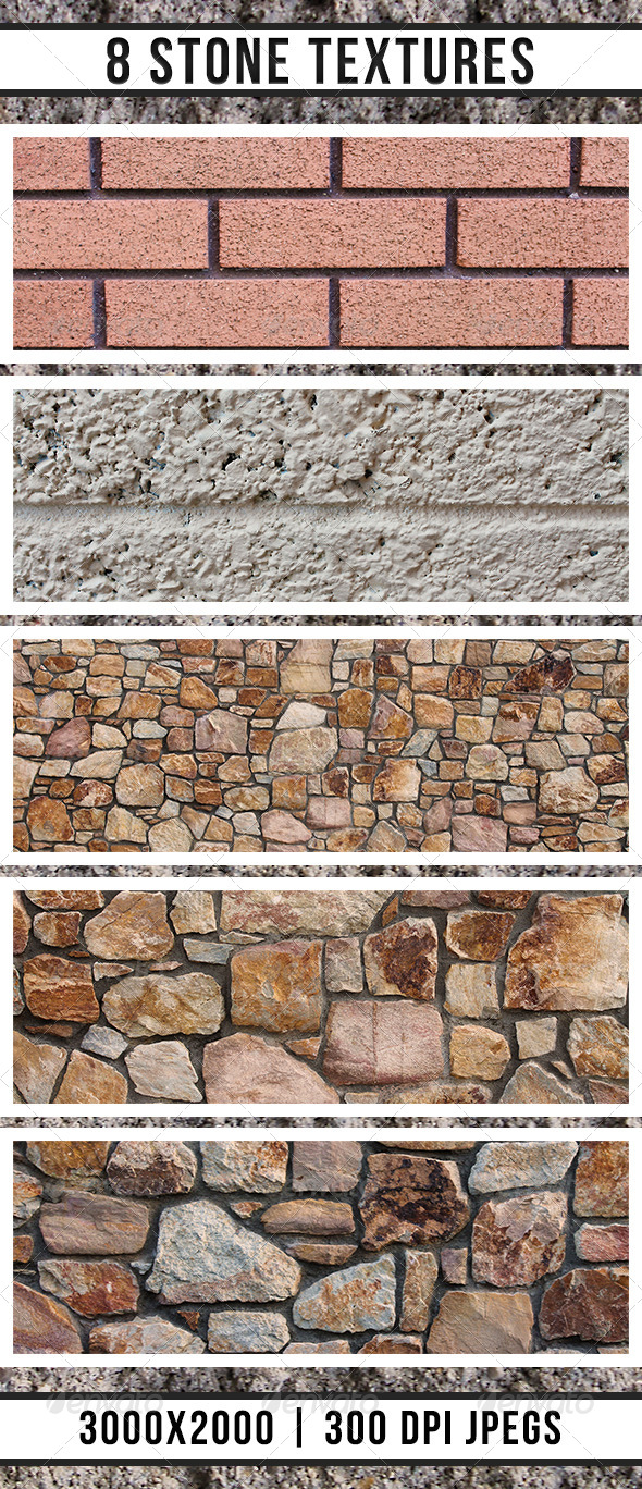 8 Stone Wall Textures  - Stone Textures