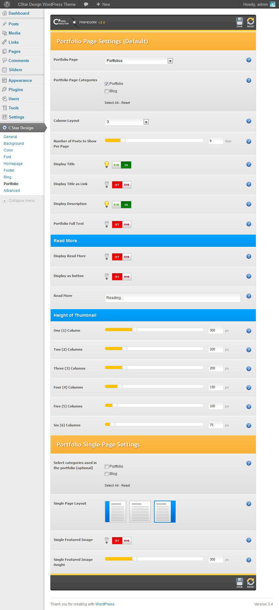 CStar Design WordPress Theme - Administrator Panel - Portfolio Settings