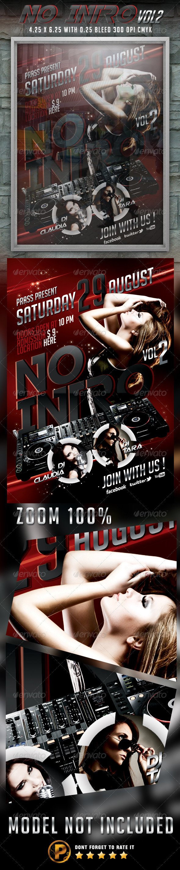 No Intro Vol 2 Flyer Template - Clubs & Parties Events