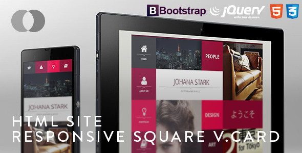 HTML Site - Adaptive Bootstrap Square vCard - Virtual Business Card Personal