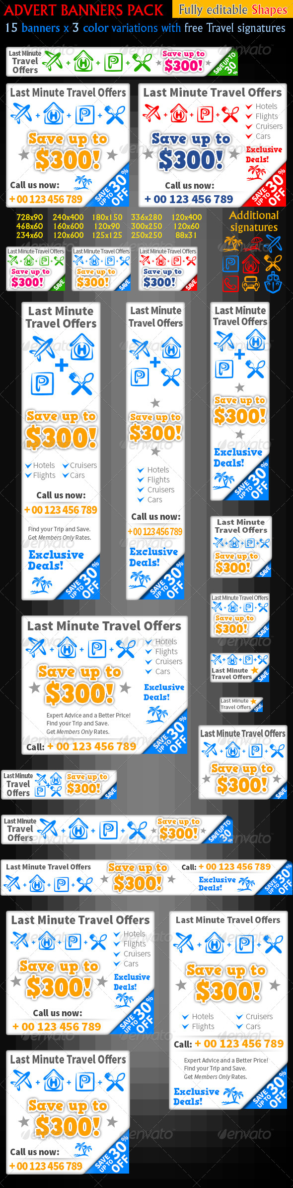GraphicRiver Travel Offers Web Banners Last Minute Trip 4902266