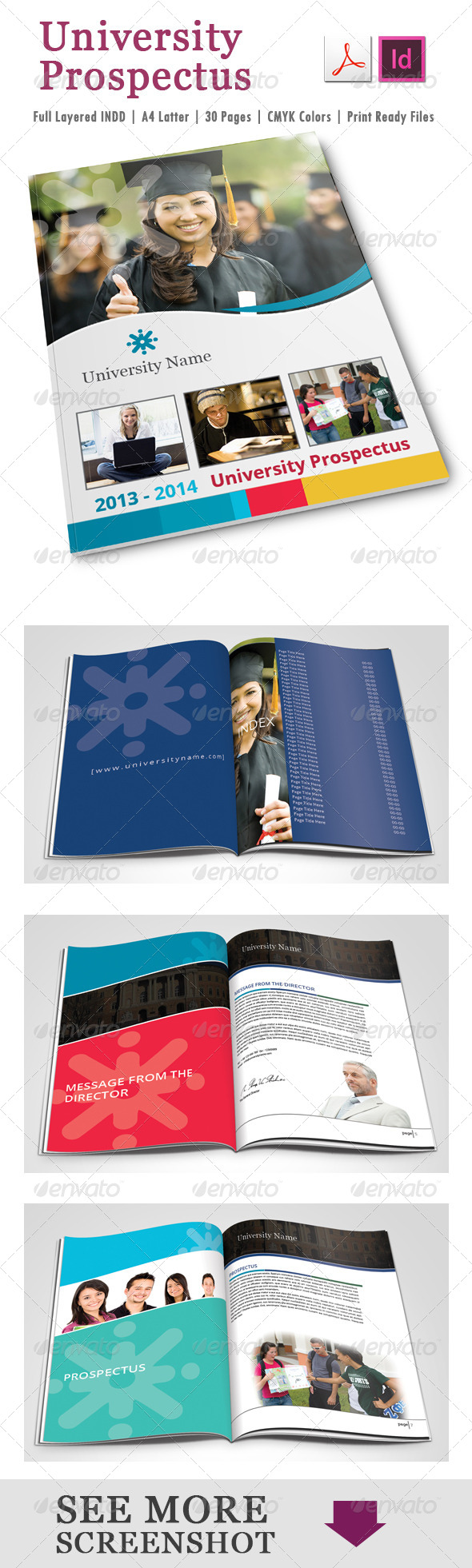 University Prospectus Template - Brochures Print Templates