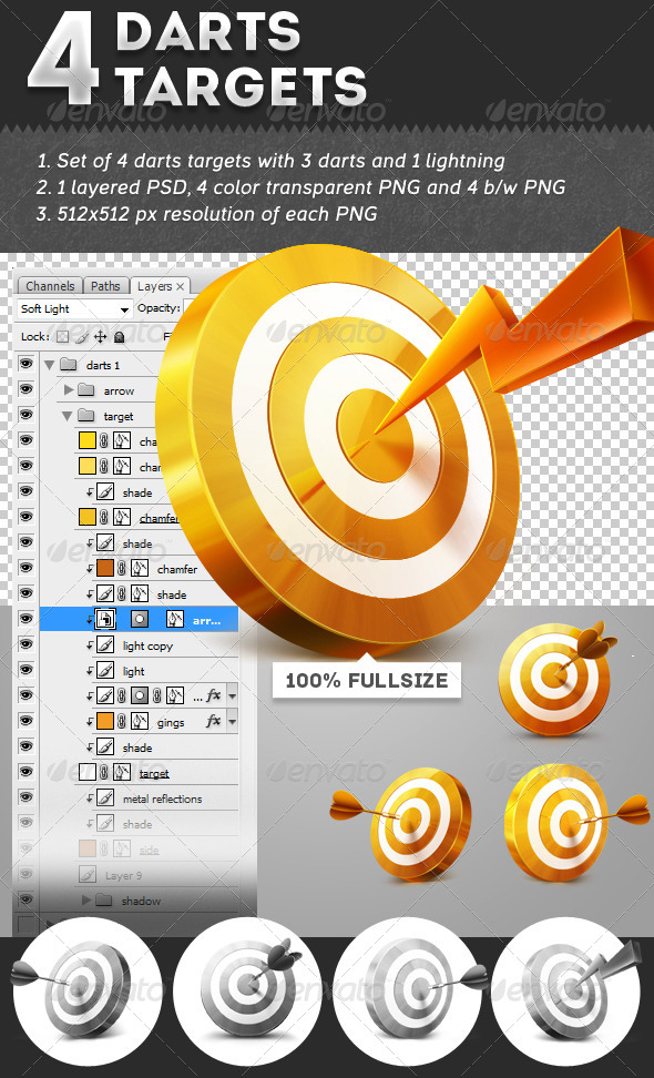 GraphicRiver 4 Darts Targets 4902791