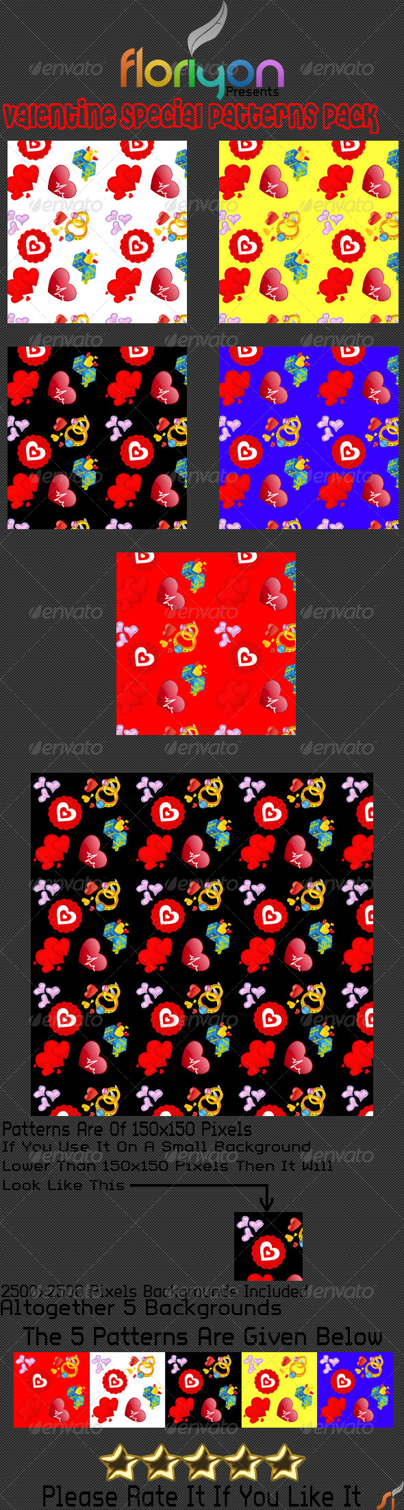 GraphicRiver Valentine Special Patterns Pack 4903324
