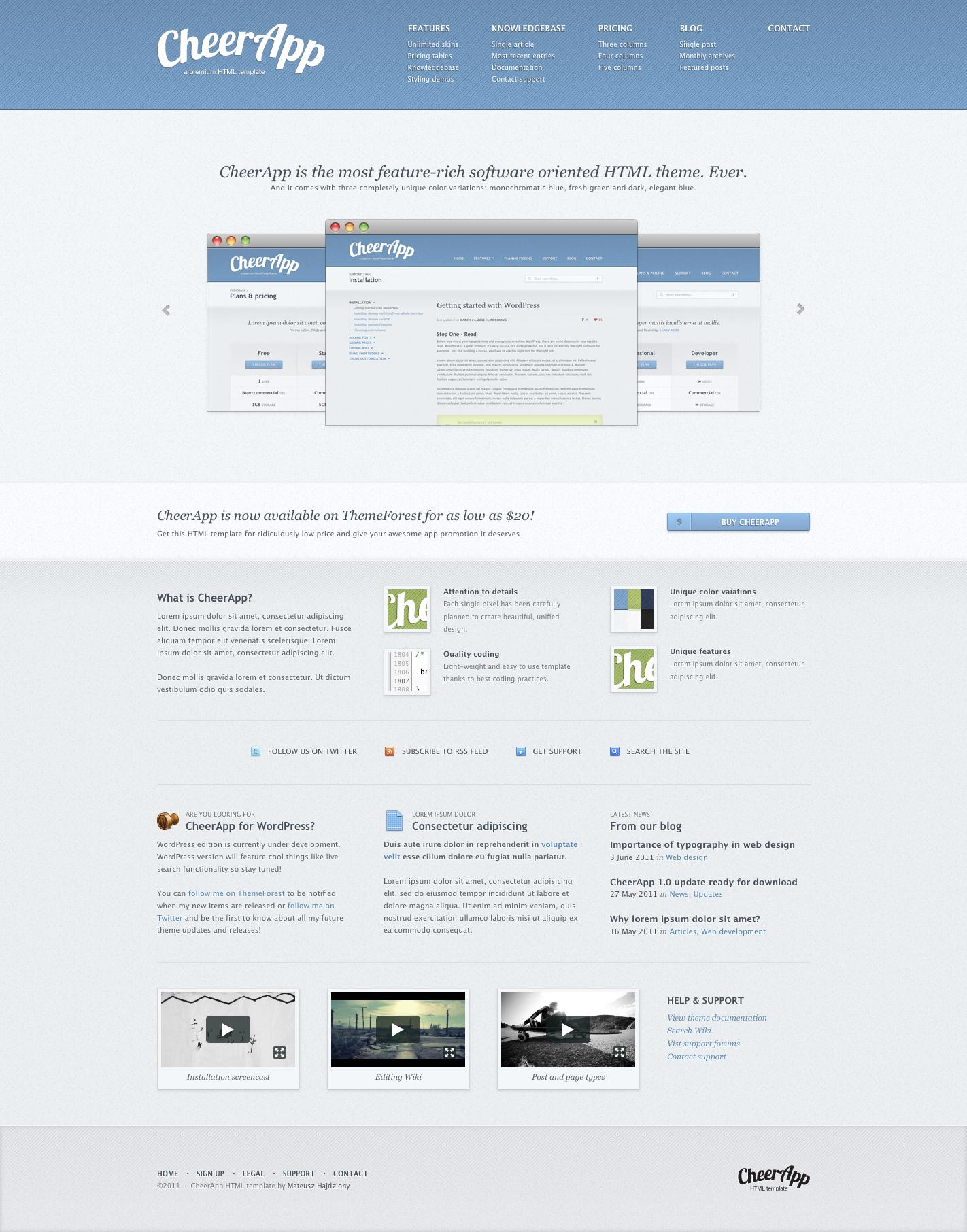 CheerApp - Premium App HTML Template