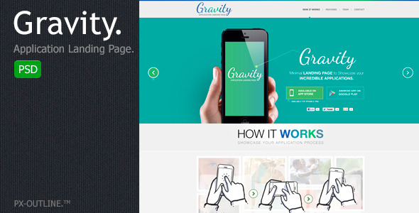 ThemeForest Gravity Mobile App Landing Page PSD 4881910