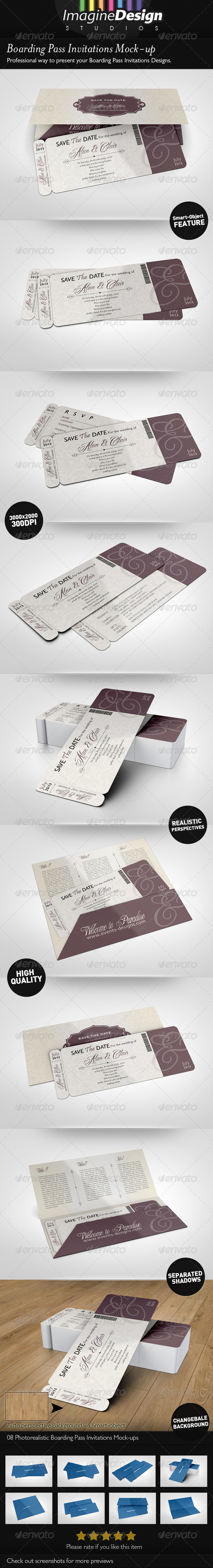 GraphicRiver Boarding Pass Invitations Mock-up 4903719