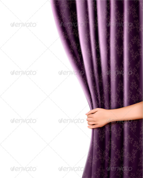 GraphicRiver Background with Violet Velvet Curtain and Hand 4903776