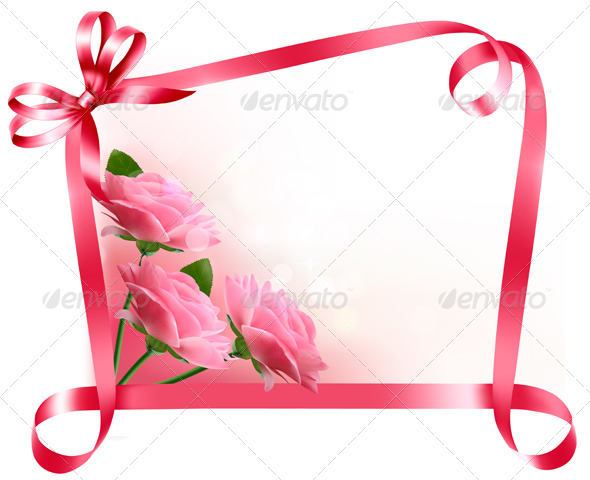 GraphicRiver Holiday Background with Pink Flowers with Bow 4903785