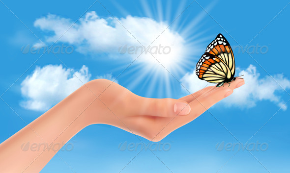 GraphicRiver Hand Holding a Butterfly Against a Blue Sky 4903788