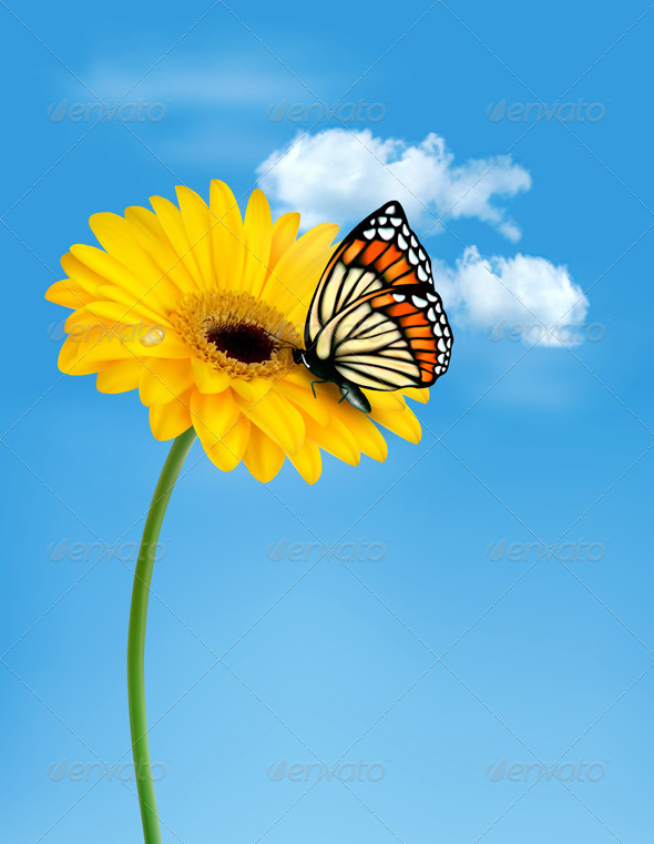 GraphicRiver Nature Summer Yellow Flower with Butterfly 4903793