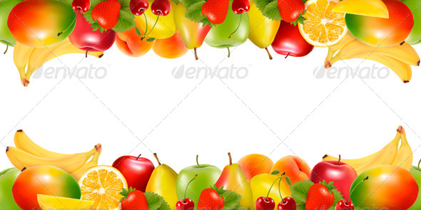 GraphicRiver Two Borders Made of Fruit Vector 4903810