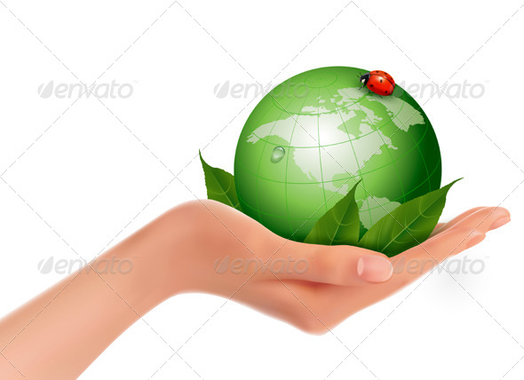 GraphicRiver Green World and Leaf have Love Bug in Woman Hand 4903866