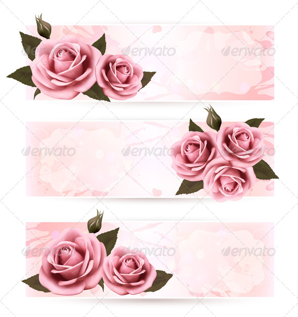 GraphicRiver Set of Holiday Banners with Pink Roses 4903883
