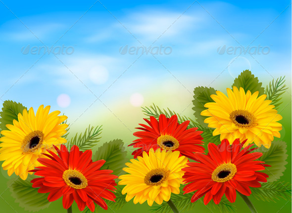GraphicRiver Nature Background with Colorful Flowers 4903887