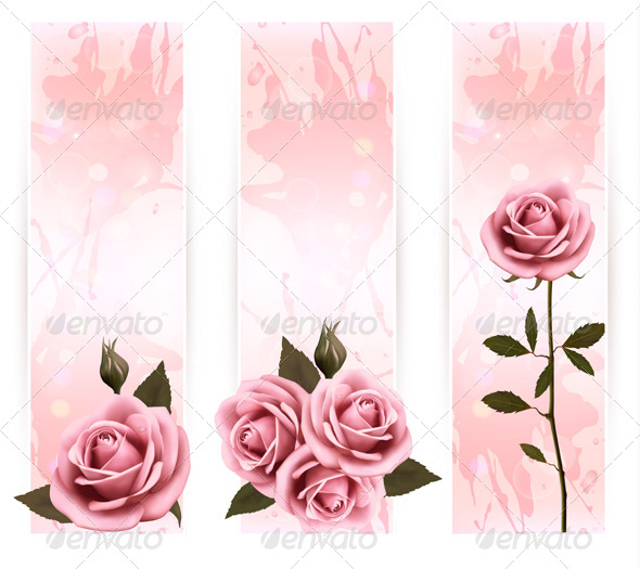 GraphicRiver Set of Holiday Banners with Pink Roses 4903898