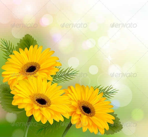 GraphicRiver Nature Background with Yellow Flowers 4903902
