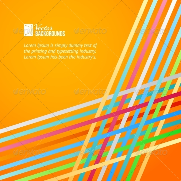 GraphicRiver Rainbow Lines over Orange Background 4904189