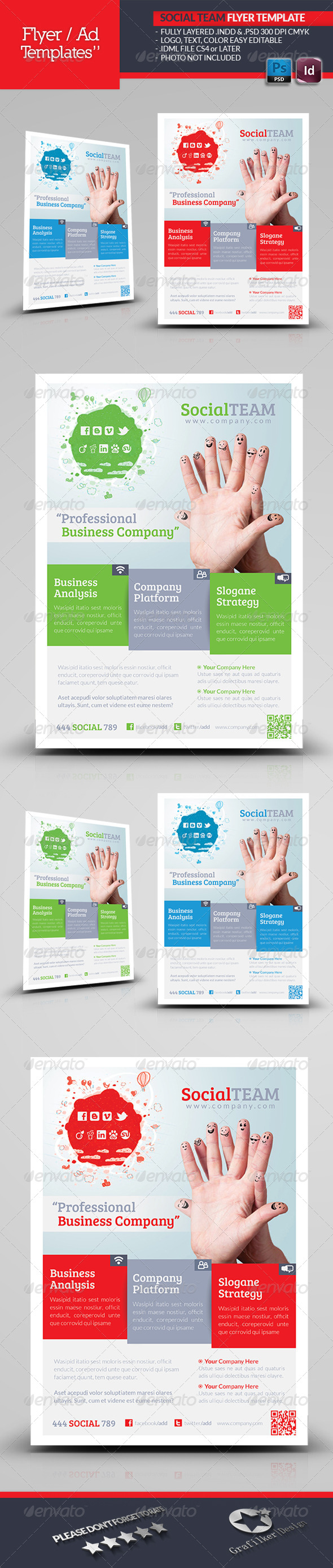 GraphicRiver Social Team Flyer Template 4904235