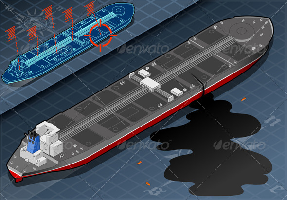 GraphicRiver Isometric Ship Tanker Leaky Oil in Rear View 4904317