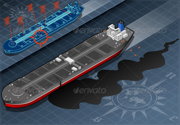 GraphicRiver Isometric Ship Tanker Leaky Oil in Front View 4904444