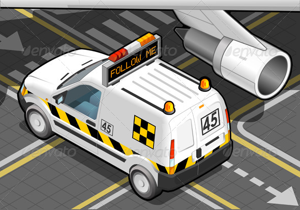 Isometric Airport Follow-Me-Car in Rear View