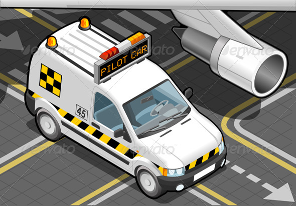 Isometric Airport Follow-me-Car in Front View