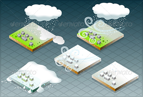 GraphicRiver Isometric Natural Disaster Snow Capped 4904522
