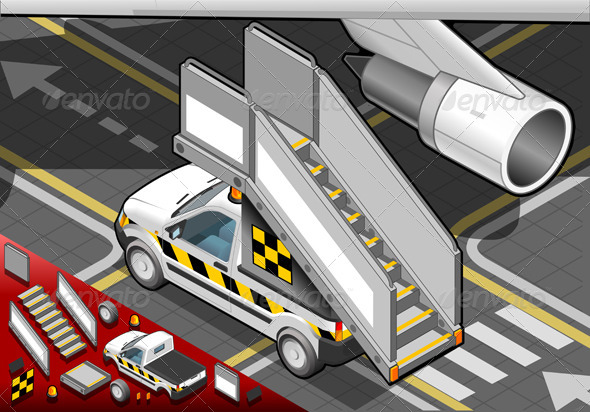 GraphicRiver Isometric Airport Boarding Stair Car in Rear View 4904536