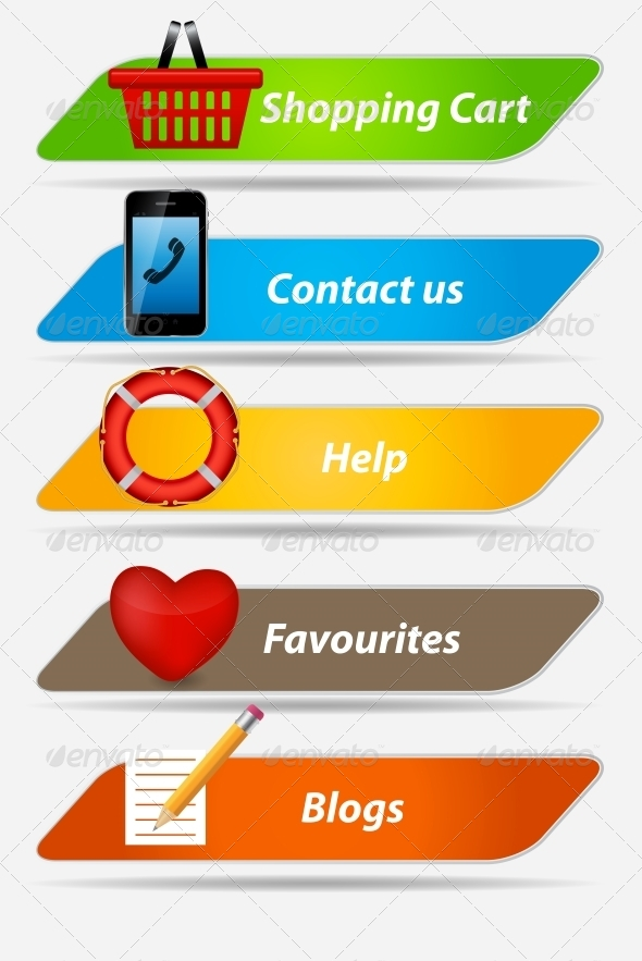 GraphicRiver Set of Buttons with Icons Vector Illustration 4904594