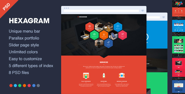 ThemeForest Hexagram Unique onepage PSD portfolio 4906386
