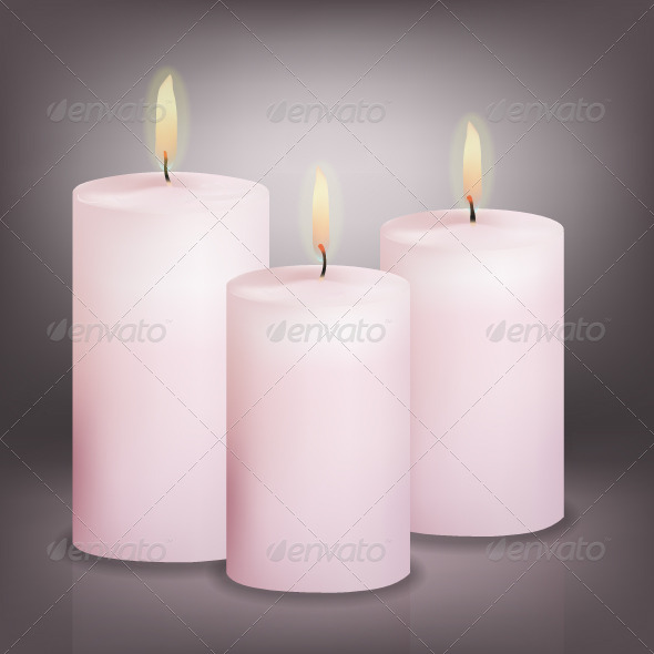 Vector Illustration of Three Pink Candles