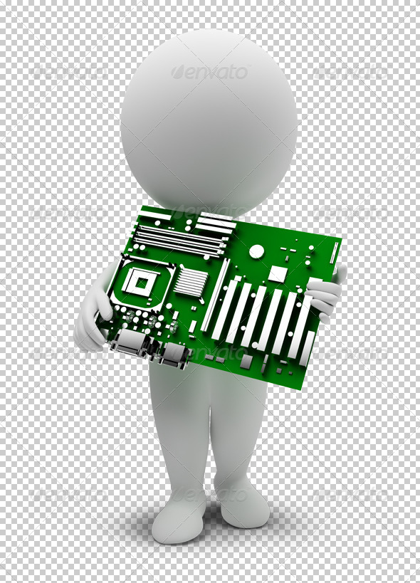 GraphicRiver 3D small people motherboard 4906749