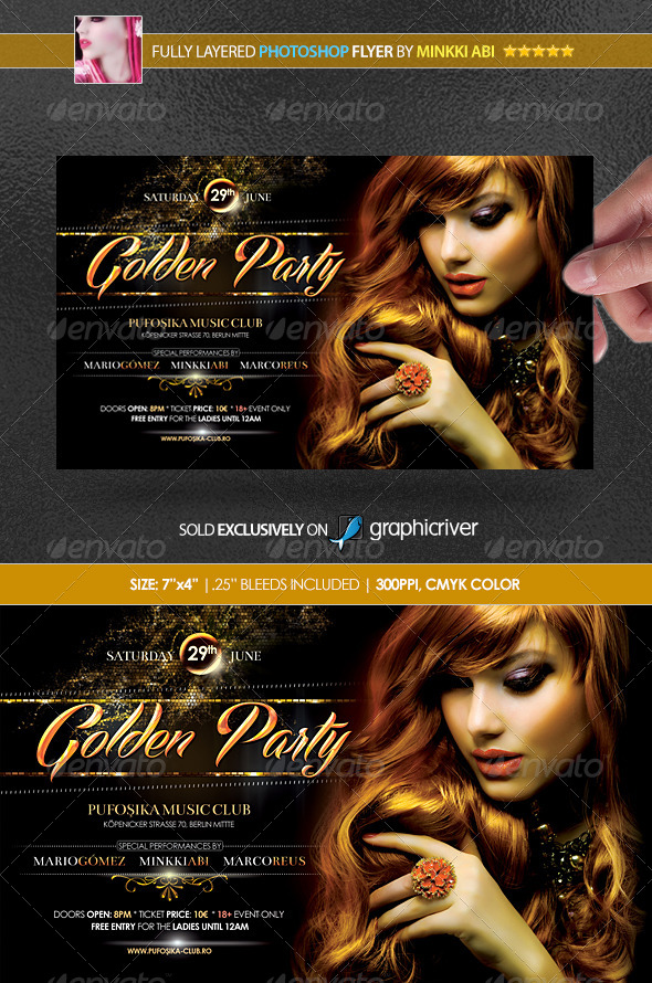 Golden Party Poster/Flyer - Clubs & Parties Events