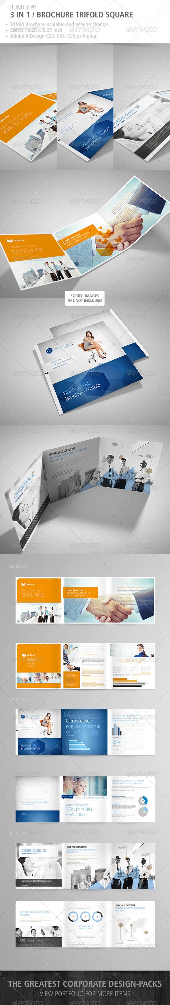 GraphicRiver Brochure Tri-Fold Square Bundle #1 4909104