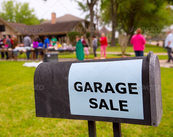 Garage sale in an american weekend on the yard - Stock Photo - Images