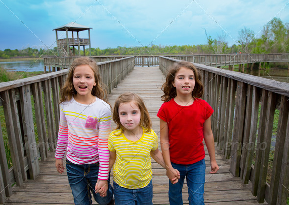 sister friends walking holding hands on lake wood - Stock Photo - Images