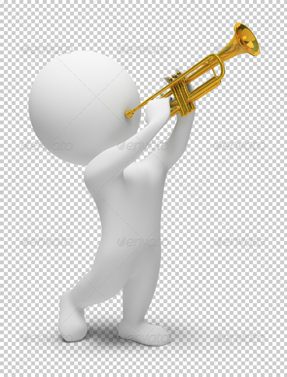 3D small people trumpet