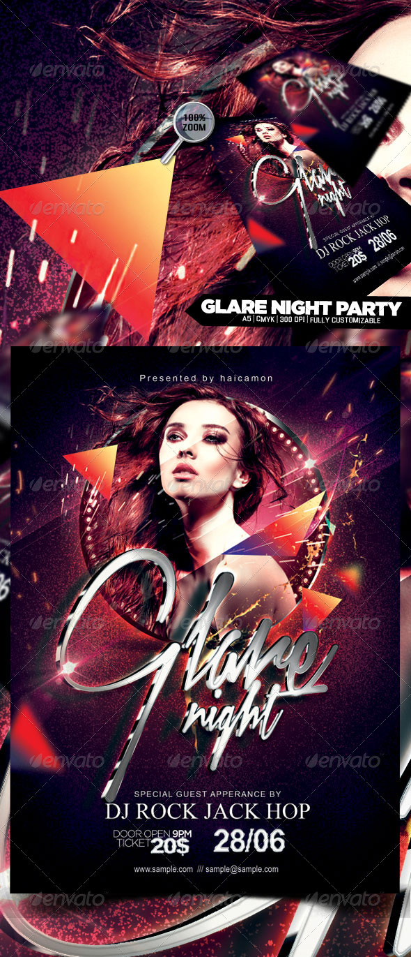 GraphicRiver Glare Night Party Flyer 4909784