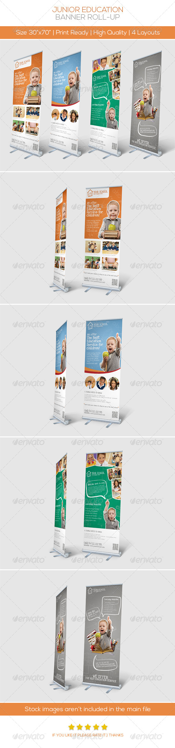 Premium Junior Education Banner Roll-up - Signage Print Templates
