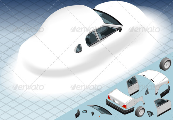 GraphicRiver Isometric Snow Capped White Car in Rear View 4904496