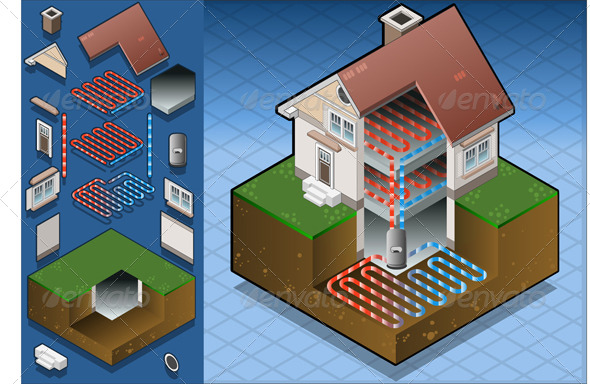 GraphicRiver Isometric Geothermal Heat Pump Under Floor Heating 4910863