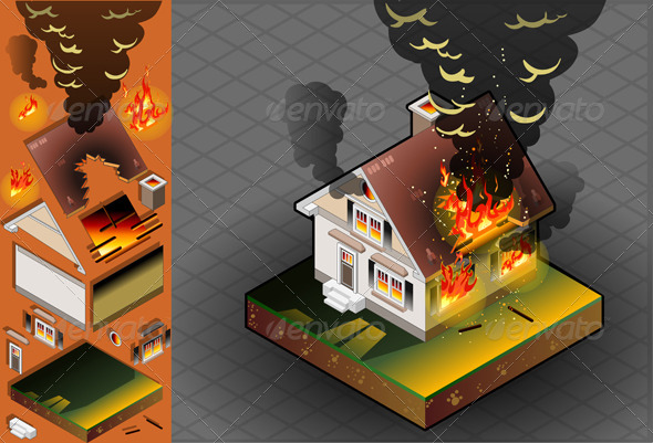 GraphicRiver Isometric House on Fire 4910892
