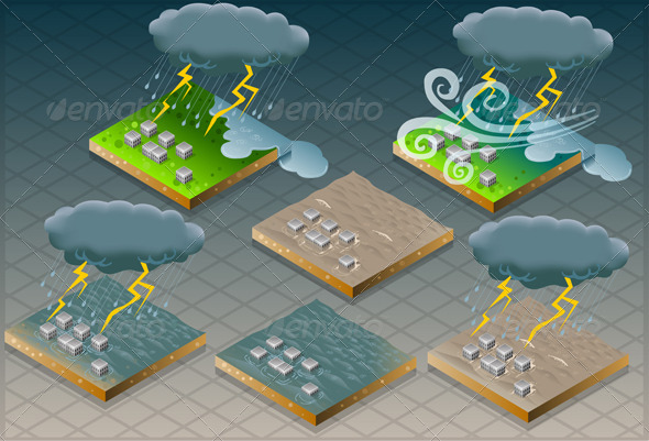 GraphicRiver Isometric Natural Disaster Flood Mudded Terrain 4910911