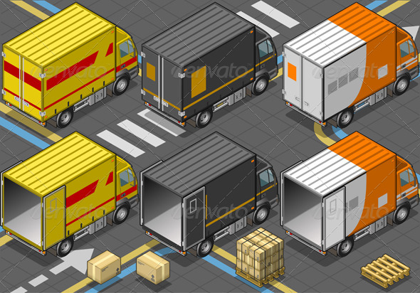 GraphicRiver Isometric Delivery Trucks in Rear View 4910932
