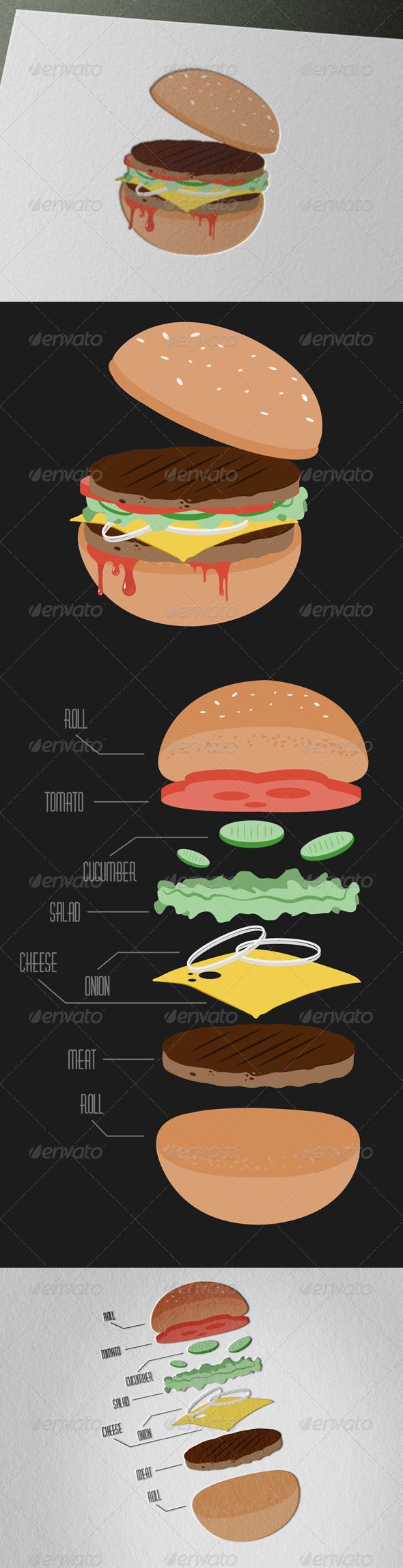 GraphicRiver Tasty Vintage Hamburger 4911072